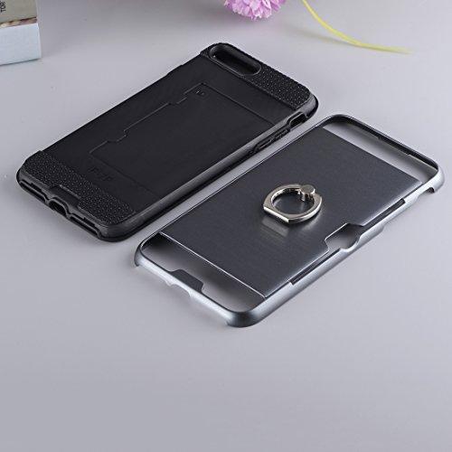 IPhone 7 Plus Case, Texture Metall Schutzmaßnahmen zurück Fall mit Ring Halter Stand und Card Slot CASE FÜR IPHONE 7 PLUS ( Color : Blue )