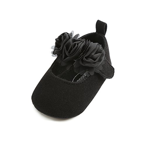 Baby Girls Soft Sole Mary Jane Princess Floral Shoes Anti-Slip Infant Prewalker Dress shoes(Black,12cm(8-14 months)) by Timatego