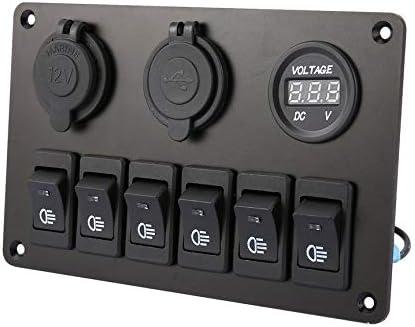 con 6 enchufes LED para Encendedor de Cigarrillos Panel de interruptores LED Peanutaoc Panel de Interruptor basculante para Coche volt/ímetro para Auto o Barco Barco