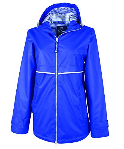 (Charles River Apparel Women's New Englander Waterproof Rain Jacket, Royal/Stripe XL)