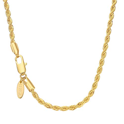 Lucasmith Gold Chain Necklace for Men and Women 3mm Rope Chain 24K Real Gold Filled 20X More Durable Than Most Gold Plated Necklace Best for Gold Pendant or Wear Solo ()