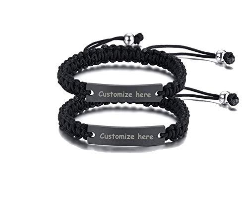 Custom Engraving Braided Rope Bracelet Matching Couples Bangle Valentine's Gift for Lover ()