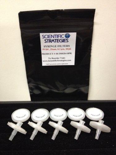 Syringe Filter, PVDF, 25mm diameter, 0.2um, 10/pk