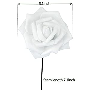 obmwang 50PCS White Foam Roses Flowers, Real Touch Artificial Rose Flowers DIY 3D Wedding Bridal Bouquet Home Hotel Party Garden Floral Decor White 3