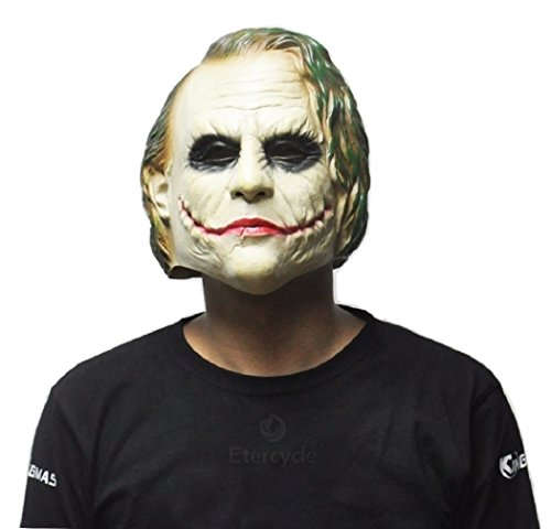 Men's Evil Knight Costumes (Batman Dark Knight Realistic Evil Clown Joker Scary Halloween Mask)