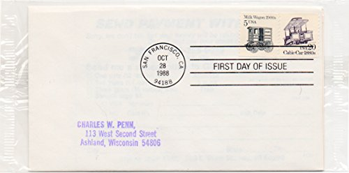 - US FDC 1988 Milk Wagon & Cable Car Issue US Postage Stamps Scott #2263 & #2253
