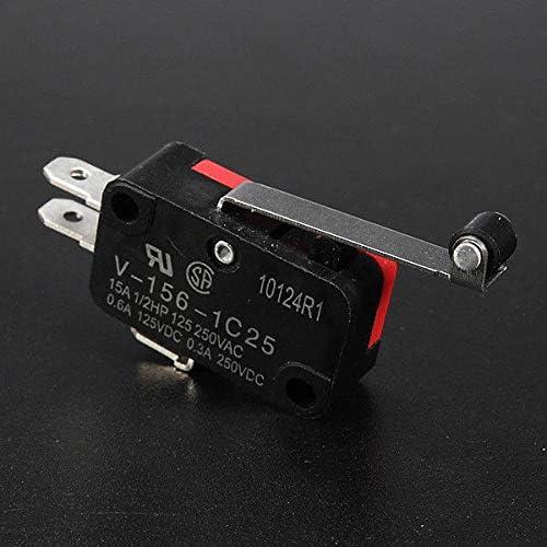 FidgetFidget 5Pcs AC 250V 15A V-156-1C25 SPDT Roller Lever Micro Switch