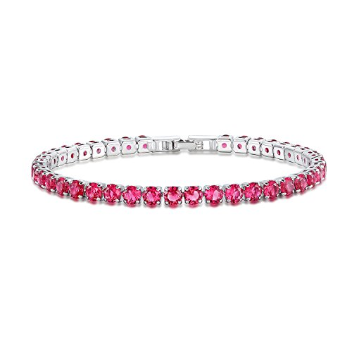 ted Ruby Diamond 0.25ct Round Red Cubic Zirconia CZ Tennis Bracelet For Woman 7.5