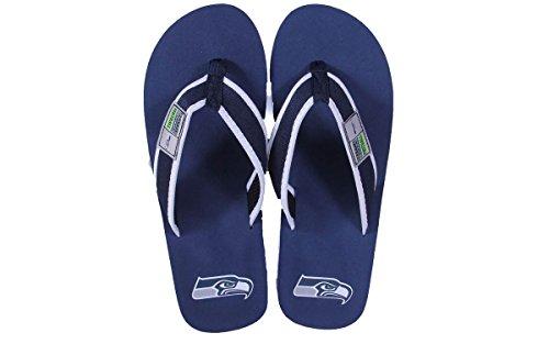 Forever Samlarobjekt Officiellt Licensierade Nfl Kontur Flip Flops - Glada Fötter Och Bekväma Fötter Seattle Seahawks