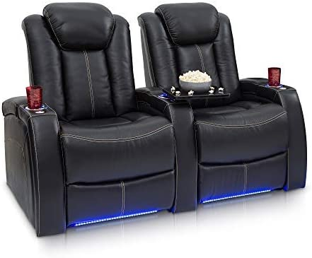 Seatcraft Delta Home Theater Seating Leather Power Recline, Powered Headrests, and Built-in SoundShaker Black, Row of 2