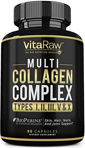 Collagen Pills - Multi Collagen Supplements (Types I, II, III, V & X) Collagen peptides Pills for Hair, Skin & Joints - hydrolyzed Collagen Protein Powder (Colageno) Collagen Capsules for Women & Men