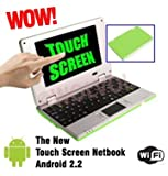 WolVol Touch Screen PC Green MINI LAPTOP 7 inch Netbook Notebook COMPUTER Built-in WIFI with the Google Android Market 4gb HD 256mb RAM (INCLUDES: Velvet Pouch Case, Charger, Mini Optical Mouse, Touch-Pen), Best Gadgets