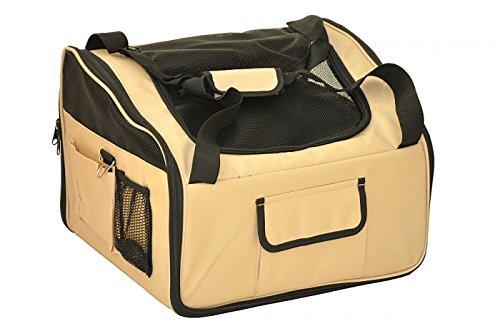 nanook Auto Transporttasche, Tier-Tragetasche, 43 x 37 cm, für kleine Hunde, Katzen und Nager, beige