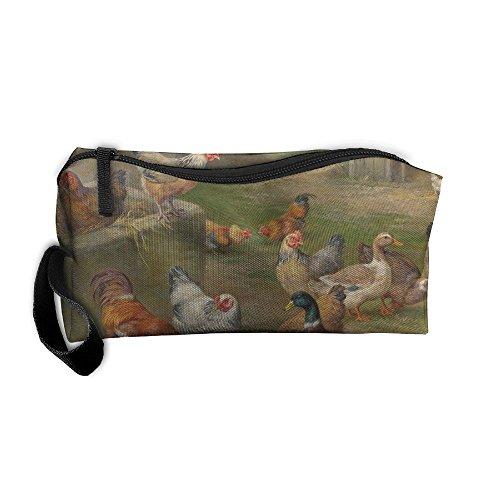 YangQxio Chickens Ducks Mallard Farmyard Portable Cosmetic Makeup Bag Waterproof Makeup Cosmetic Brush Organizer Zipper Organizer Travel Set Tote Bag