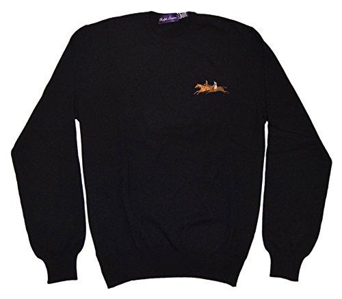 Polo Ralph Lauren Purple Label Mens Cashmere Crew Sweater Black Italy (Black Label Cashmere Sweater)