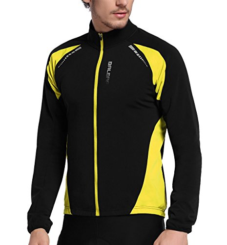 Baleaf Men's Thermal Cycling Jersey Long Sleeve Windproof Jacket Black Yellow Size M (Best Thermal Cycling Tops)