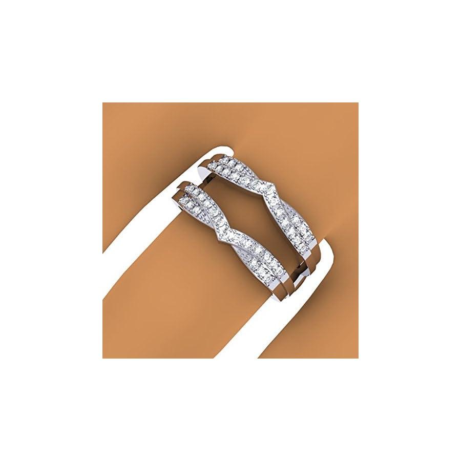 Dazzlingrock Collection 0.33 Carat (ctw) 14K Gold Round Diamond Ladies Wedding Band Enhancer Guard Double Chevron Ring 1/3 CT