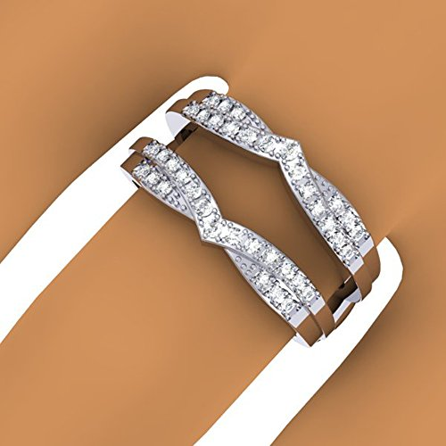 0.33 Carat (ctw) 14K Gold Round Diamond Ladies Wedding Band Enhancer Guard Double Chevron Ring 1/3 CT