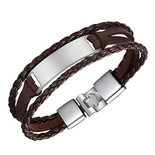 U7 Personalized, Braided 3-Layer Leather Bracelet Custom Free Engraving Stainless Steel ID Bracelet (Brown Leather - Platinum ID Bar, Non-Personalized)