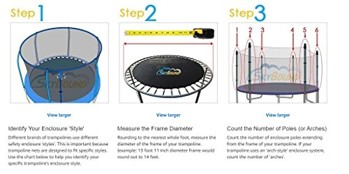 14 Foot Trampoline Net with Sleeves (Fits Bounce Pro/SportsPower Trampolines with 3 Arches) by SkyBound (Image #1)