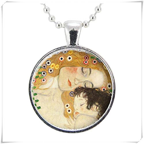 Zhahender Decorative Ornaments Mother and Child by Gustav Klimt Necklace, Art Pendant, Dome Glass Jewelry, Pure Handmade