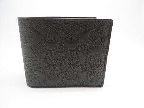 COACH COMPACT ID WALLET IN SIGNATURE CROSSGRAIN LEATHER ,F75371 BLACK