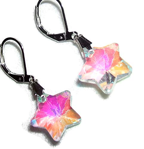 CRYSTAL STAR EARRINGS Silver Plt COLOR CHANGING Drops