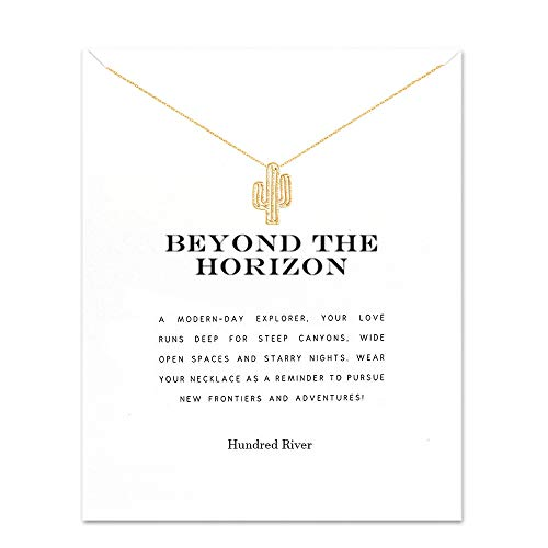 Hundred River Gift Necklace Cactus Necklace with Message Card Gift Card(Cactus) ()