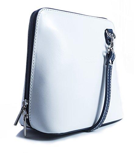 protectora Pequeño marino ABBY piel bolso LiaTalia con azul mujer Blanco para de suave con bolsa crossbody borde de z hombro wd7g1q