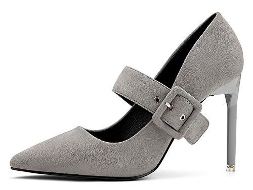 Shoes Dressy Aisun Buckle Pointed Heel Elegant Low On Strap Cut Womens Slip Pumps Toe Gray High Stiletto FxrFIZ