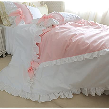 Brandream White And Pink Princess Bow Bedding Set Girls Kids Bed Set Twin Full Queen Size