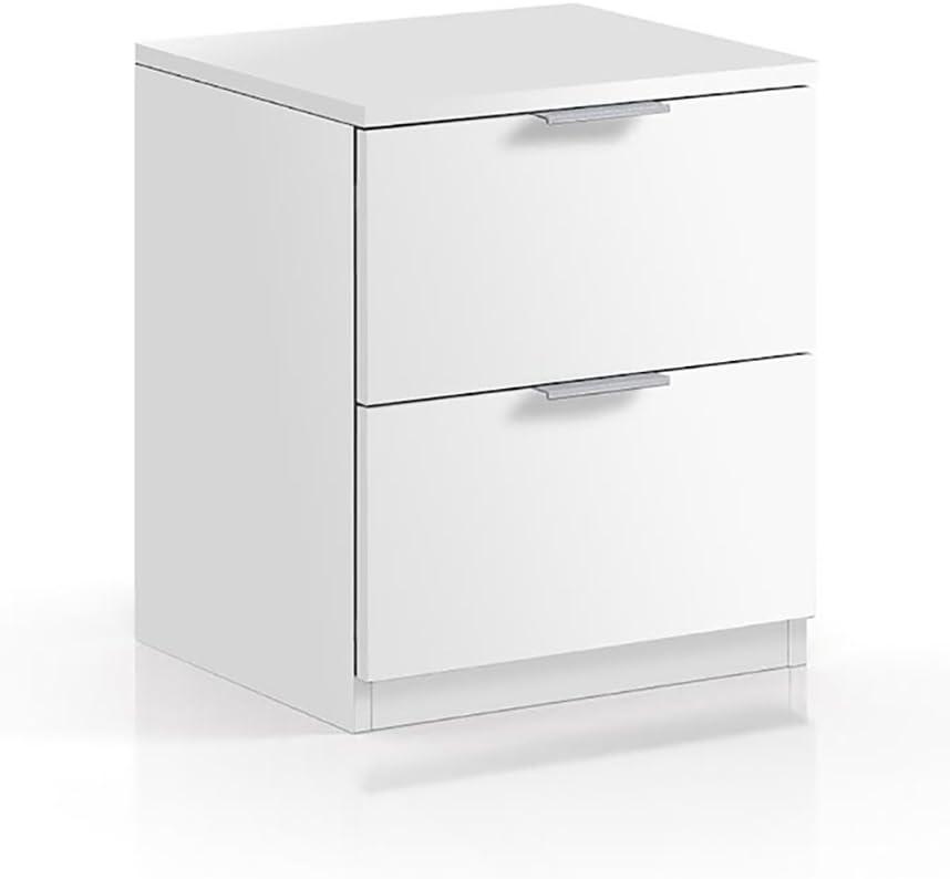 Habitdesign LC7820O - Mesita de Noche Color Blanco Mate, Book Oficina, Medidas: 38 cm (Ancho) x 45 cm (Alto) x 34 cm (Fondo)