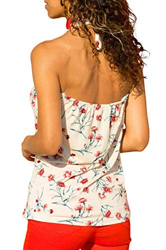 CILKOO Women's Ladies Fashion Summer Sleeveless Halter Sexy Cut Out Open Back Tank Tops White US12-14 Large