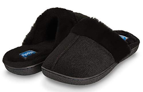 Floopi Womens Indoor Outdoor Soft Felt Fuax Fur Lined Open Back Slipper W/Memory Foam (M, Black-310)