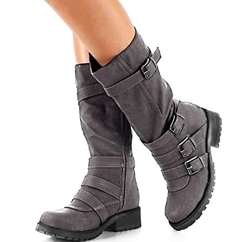Riding Hunleathy Buckles Mid Combat Boots Boots Women's Grey1 Calf Rq74R6W