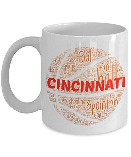 CINCINNATI BEARCATS Basketball mug – coffee tea cup for college sports fan – ceramic team gift -- NCAA college basketball -- 11 ounce or 15 ounce white