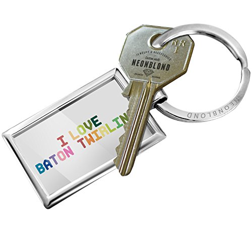 NEONBLOND Keychain I Love Baton twirling,Colorful