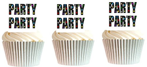 Party Party Disco Lights Cupcake Decoration Topper Picks - 12ct