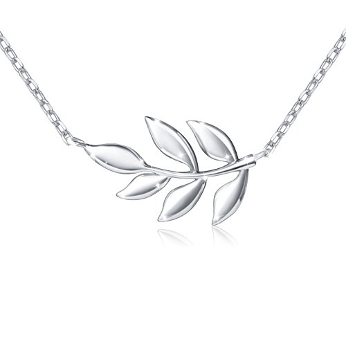 Silver Leaf Necklace (S925 Sterling Silver Olive Leaf Necklace for Women Lady, 18