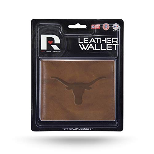 Rico Industries NFL Texas Longhorns Embossed Leather Billfold Wallet with Man Made Interior