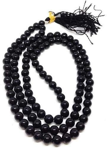 Jet International Turmalina energizada 108 cuentas anudadas Mala 8 mm Oración Japa Piedra preciosa Reiki Curación Cristal Hilo semiprecioso Borla Tibetano Budismo Riqueza Abundancia Aum Karma La ima
