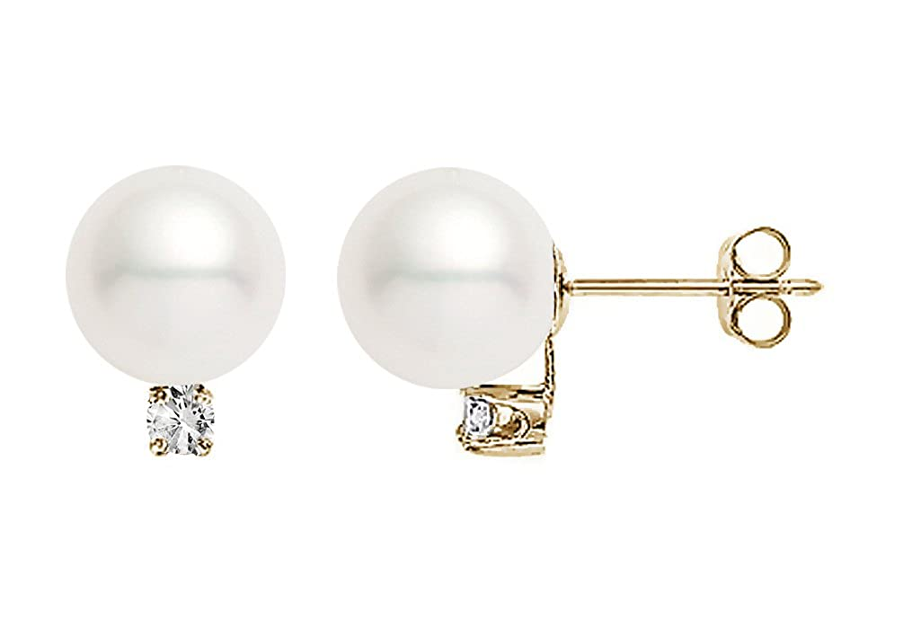 54c31553d Amazon.com: 14k Yellow Gold AAAA Quality Japanese Akoya Cultured Pearl  Diamond Stud Earrings (6.5-7mm): Jewelry