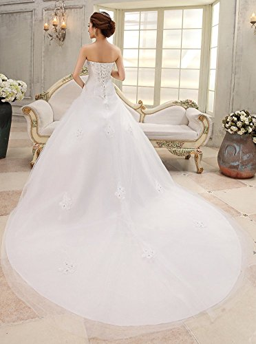 Gowns Women's Dresses Pleated Drasawee Strapless Bridal Sequins Long Train Wedding Zp67qTwF