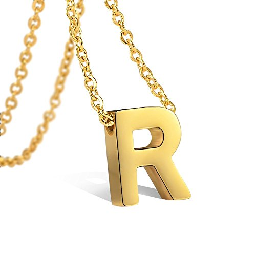 (Bala Initial Necklaces Gold R Personalized Letter for Women Girls Stainless Steel Script Tiny)
