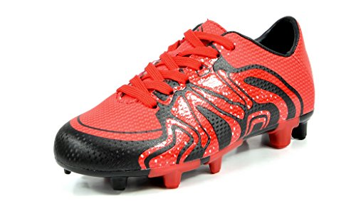 DREAM PAIRS Little Kid 160472-K Red Black Silver Soccer Football Cleats Shoes - 2 M US Little - Red Silver Black