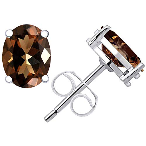 (Smoky Quartz Stud Earrings For Women By Orchid Jewelry : Hypoallergenic Sterling Silver Earrings For Sensitive Ears, Nickel Free Competition Studded Earrings | (2.28 Ctw))