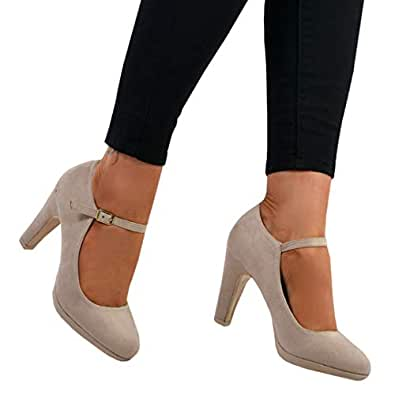 Womens Block Pumps Mary Jane Heels Chunky High Heel Ankle Strap Wedding Shoes Beige