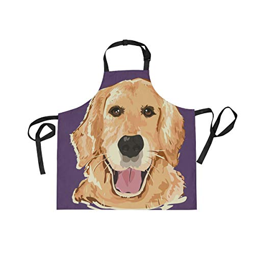 BlueViper Doodle Cartoon Golden Retriever Dog Home Kitchen Apron for Women Men with Pockets, Unisex Adjustable Bib Apron Perfect for BBQ, Grill, Baking, Cooking