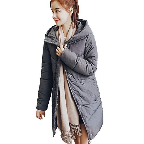 BETTERUU UFACE Women Outerwear Fur Hooded Button Coat Long Cotton-Padded Jackets Pocket ()