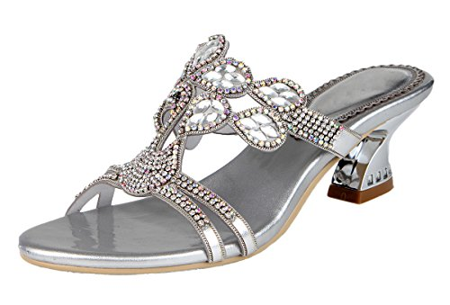 Chunky Heel Slide - Jiandick Womens Rhienstone Chunky Heels Evening Wedding Dress Slide Sandals, Silver, 7.5 B(M) US
